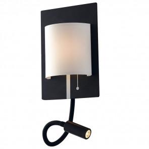 LED-POP-BW - Applique Metallo Nero Paralume Bianco Luce da Lettura Flessibile Led 9 watt Luce Naturale