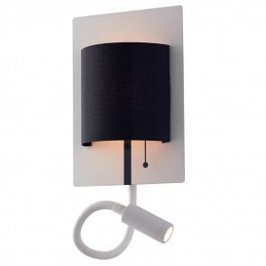 LED-POP-WB - Applique Moderna Luce da Lettura Flessibile Metallo Bianco Paralume Nero Led 9 watt Luce Naturale