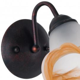 Applique 1162 in Metallo color Ruggine e Diffusore in Vetro Tirato a Mano Bianco Ambra FanEurope