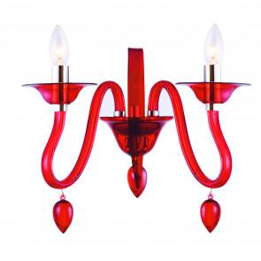 I-ESTEFAN-AP2 RSO - Applique rossa con due sinuosi e morbifi bracci 40 watt E14