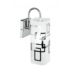 I-TEOREMA-CIL/AP - Applique diffusore Vetro Bianco decoro Quadri Cromo Lampada Moderna E27