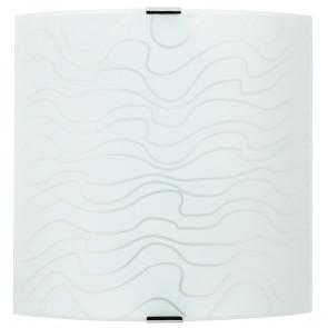 272/00412 - Applique Quadrata Vetro Bianco decoro Onde Moderna Interno E27