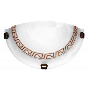 248/00212 - Applique dal design classico bianca anticato con greca marrone 60 watt E27