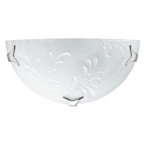 206/02800 - Applique bianca dal design classico con decoro floreale 60 watt E27