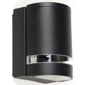 I-6041/NERO - Applique Esterno Alluminio Nero Tenuta Stagna Fascia Trasparente 35 watt GU10 Luce Calda