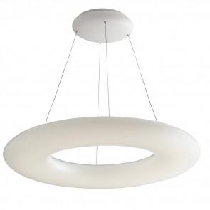 LED-MYLION-S75 - Lampadario Matello Bianco Anello opale Sospensione Moderna Led 80 watt Luce Naturale