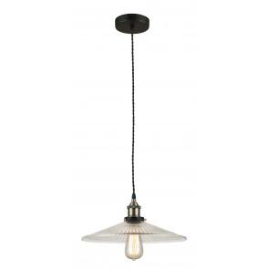 I-KORA-S1 - Sospensione Metallo paralume Vetro Decorato Lampadario Interno Rustico Vintage E27