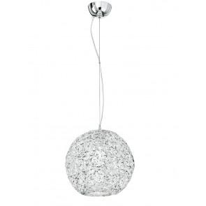 I-ASTRA/S35 - Pendente a forma di sfera schiacciata con cristalli 60 watt E27