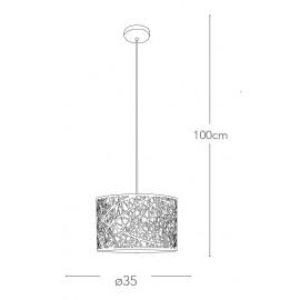 Sospensione a filo in Acciaio Bianco con Decoro Astratto Intagliato a Laser Batik FanEurope