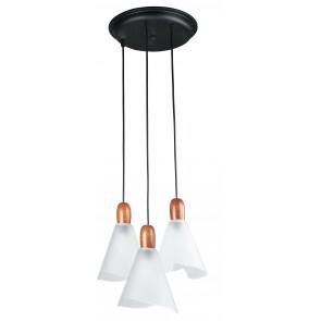 I-BREST/S3 - Lampadario con tre pendenti conici in legno 40 watt E14