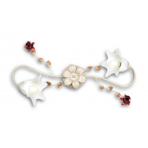 ROSE/PL2 - Plafoniera elegante e raffinata color avorio con rose rosse 40 watt E14