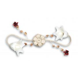 ROSE/PL2 - Plafoniera elegante Bianca Rose Rosse Metallo Vetro Lampada Classica E14