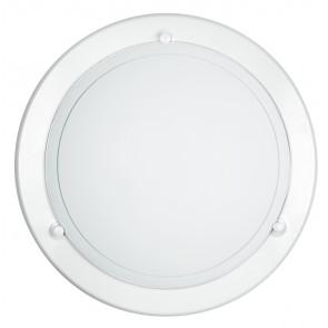 07/00300 - Plafoniera Tonda Vetro Bianco Cornice Metallo Bianco Interno Classico E27