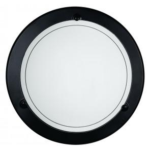 07/00600 - Plafoniera dalla forma tonda con cornice in metallo nero 60 watt E27