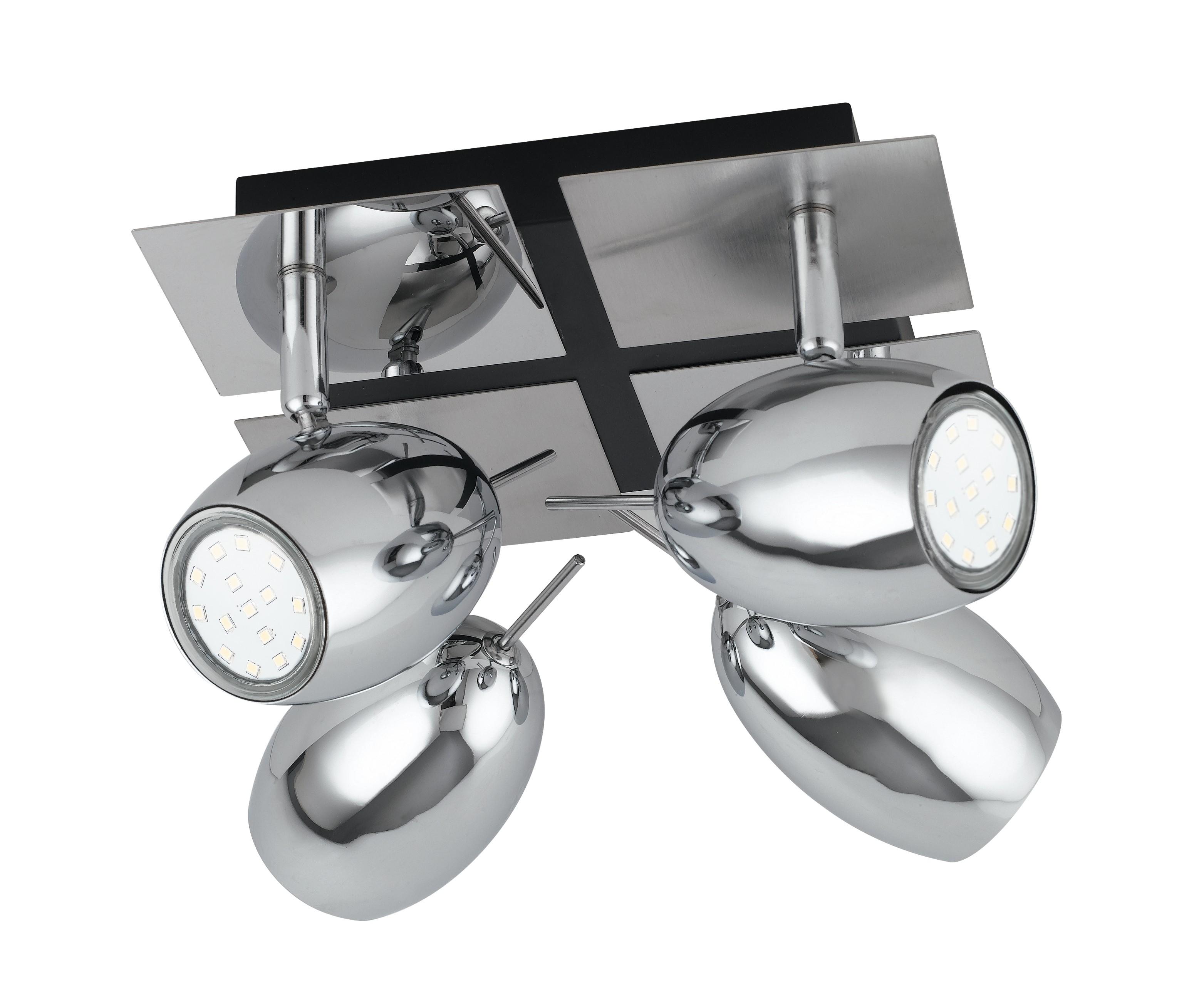 Plafoniere Con Spot : Spot madrid pl plafoniera dal design moderno cromata a quattro
