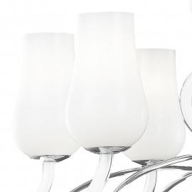 Lampadario Angel 12 luci con Diffusori in Pasta di Vetro Bianco e Bracci Trasparenti