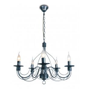 216/00100 - Lampadario di colore nero con decorazioni morbide 40 watt E14