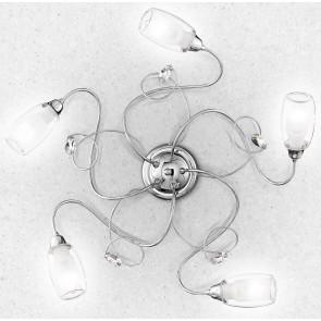 I-ELY/PL5 - Plafoniera Cromata diffusori Vetro decori Cristalli K9 Lampada Elegante Interni E14