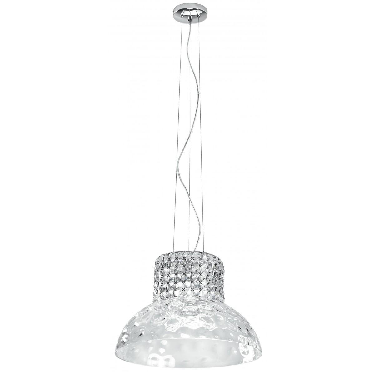 I-DANZA/S42 - Sospensione Elegante Vetro Decorato Cristalli K9 Lampadario Moderno G9