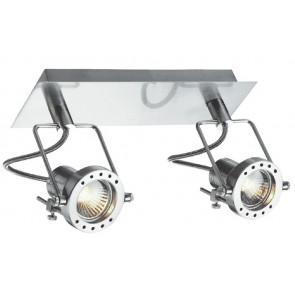 SPOT-TECHNO-2 - Applique a due luci cromata dalla forma essenziale 42 watt 2800 kelvin GU10