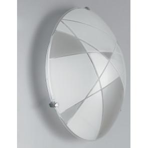 I-MAXIMA/PL30 - Plafoniera Tonda Bianca Tortora Vetro Inciso Lampada Moderna Led 18 watt Luce Naturale