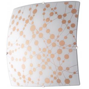 I-SUMMER/PL40 - Plafoniera Moderna Pois Arancio Vetro Quadrata Lampada Led 28 watt Luce Naturale