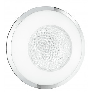 I-TIFFANY/PL30 - Plafoniera Tonda Vetro decoro Cristalli K9 Cornice Cromo Lampada Led 14 watt Luce Naturale