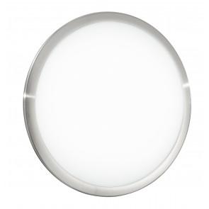 I-DIVINA-S/PL30 - Plafoniera tonda di colore bianco con cornice in nickel, luci led e sensore 14 watt