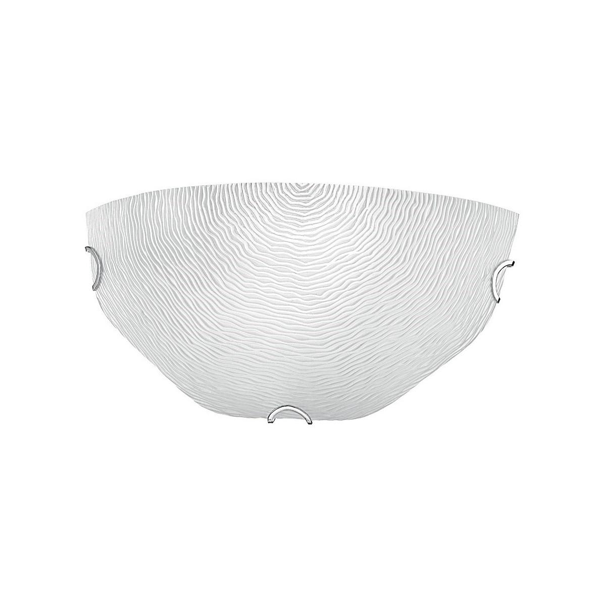 210/10600 - Applique Bianca Vetro decoro Rilievo Filigrana Lampada Moderna Interni E27