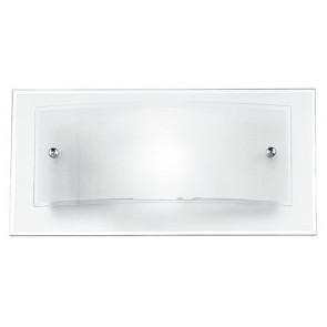 I-061228-3 - Applique rettangoalre ricurva bianca e trasparente 60 watt E27