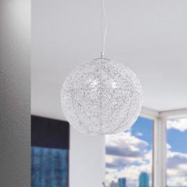I-ASTRA/S45 - Lampadario Sospeso Moderno Sferico Cristalli Fili Alluminio Intrecciati E27