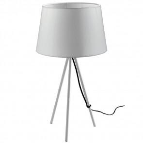 I-MARILYN-L BCO - Lampada da Tavolo Treppiedi Bianco Metallo Paralume Tessuto Interno Moderno E27