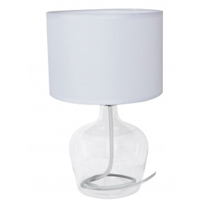 I-HENDRIX-L BCO - Abat jour Fusto Vetro Trasparente paralume Tessuto Bianco Lampada Moderna E27