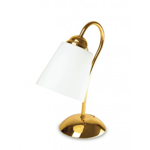 I-1162/L ORO - Lume paralume Vetro Soffiato Metallo Oro Lampada da Tavolo Classica E14