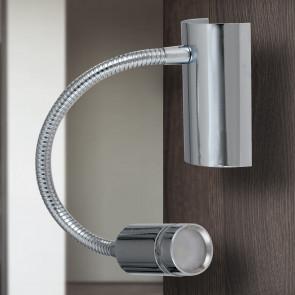 LED-KEPLER-CR - Applique Moderna Cromo Flessibile Lampada da Lettura Led 3 watt Luce Calda