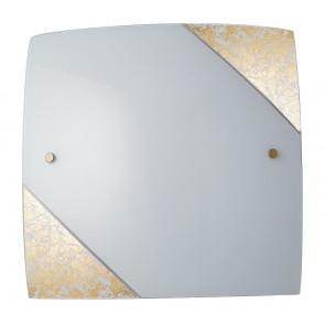 I-PARIS/3030 ORO - Plafoniera Soffitto Parete Quadrata Decoro Oro Vetro Bianco E27
