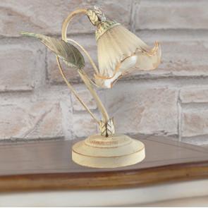 I-PRIMAVERA/L1 - Lume Elegante Decoro Floreale Metallo diffusore Vetro Lampada da Tavolo Classica E14
