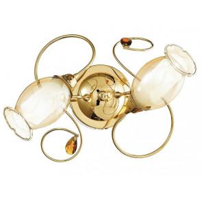 I-ELY/PL2 ORO - Plafoniera Lampada Classica diffusore Floreale Vetro decoro Cristallo K9 struttura Metallo Oro E14