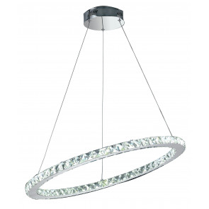 LED-MELODY/S70 - Sospensione Anello obliquo Cristalli K9 Metallo Cromo Lampadario Led 36 watt Luce Naturale