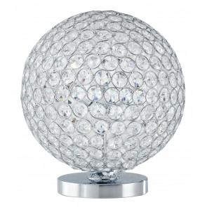 I-PLANET/L - Lampada da Tavolo Sferia Metallo Cromato Cristalli K9 Tondi Lume Interno G9