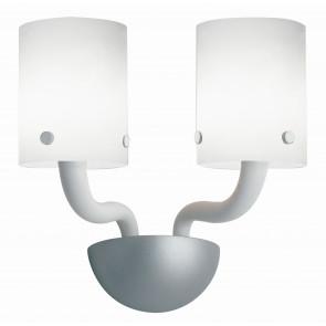 I-AURORA-AP2 BCO - Applique Vetro Bianco Finiture Cromate Lampada da Parete Moderna E14