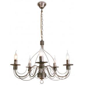 216/00600 - Lampadario di colore ruggine con decorazioni morbide 40 watt E14