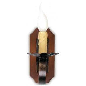 I-252/00300 - Applique Una Luce Metallo Legno Lampada da Parete Rustica Vintage E14
