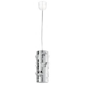 I-BUTTERFLY/S10 - Sospensione Cilindrica Acciaio Intaglio Fiori Farfalle Lampadario Moderno E27