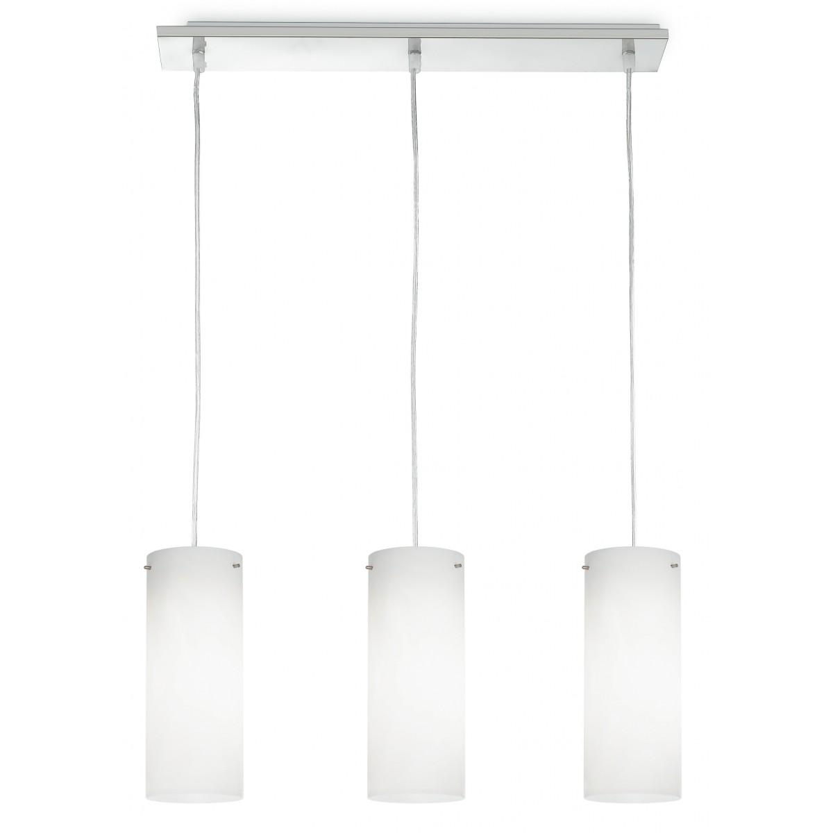 I-STREET/S3 - Lampadario Metallo 3 Sospensioni Cilindiriche Vetro Bianco Moderno E27