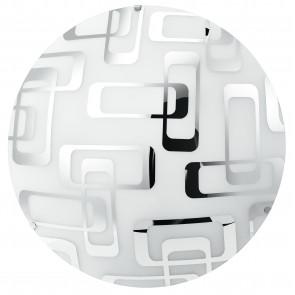 I-TEOREMA/PL40 - Plafoniera decoro Quadri Cromati Tonda Vetro Bianco Soffitto Parete E27