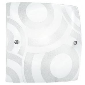 I-MIRO/PL40 - Plafoniera decoro Cerchi Bianco Quadrata Vetro Graniglia Interno Moderno E27