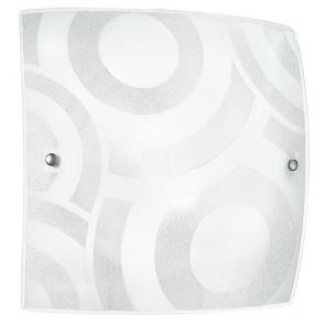 I-MIRO/PL50 - Plafoniera Vetro Graniglia Quadrata decoro Cerchi Bianchi Moderna Soffitto Parete E27