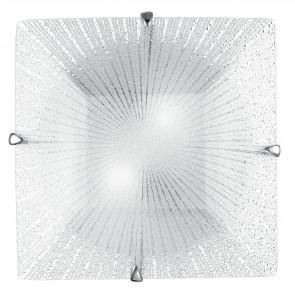 I-ISIDE/PL30 - Plafoniera Quadrata decoro Raggi Vetro Diamantato Lampada Moderna E27