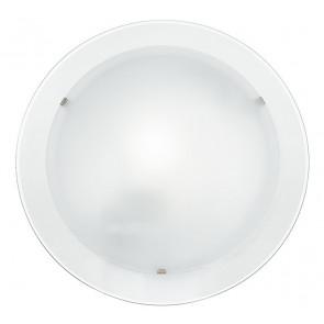 I-061228-7 - Plafoniera Tonda Doppio Vetro Bianco Satinato Bordo Trasparente Lampada Moderna E27